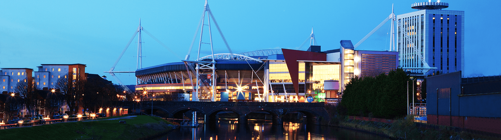 The Principality Stadium in Cardiff at night.